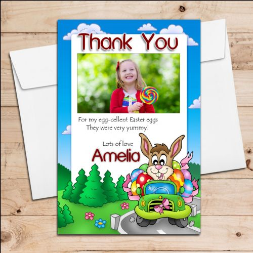 10 Personalised Girls Boys Easter Egg Thank you Photo Post Cards N8